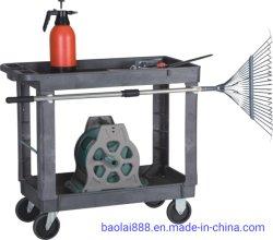 Multifunción 2 estantes de plástico industrial pesado de almacenamiento de rodadura de la Utilidad de servicio de plástico cesta
