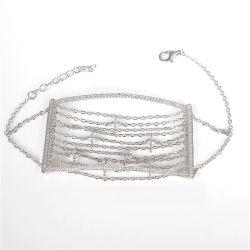 幾何学の純チェーン粋な925純銀製のブレスレット