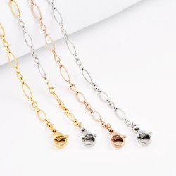 عقد من الفولاذ الذي لا يصدأ تقليد الذهب عقد الأنقليس مصنع الأنقلي مجوهرات أزياء السلسلة