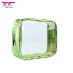 Venda por grosso de artigos de higiene em PVC transparente de viagem saco cosméticos claro estojo de maquilhagem