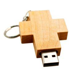 木のPendrive USBのフラッシュ駆動機構64GB 32GB 8GBの神がイエス・キリストを賛美するイエス・キリストの木製の十字の聖書はペンのディスク・メモリの棒16GB Uのディスクを照らす