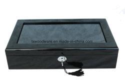 블랙 피아노 마감 창 목재 시계 표시 상자