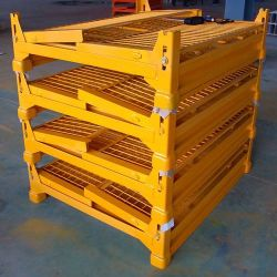 Magazijn Opvouwbare Stalen Opslagdraadgaas Mesh Containers Met Poedercoat/Stalen Pallet/Magazijn Kooi