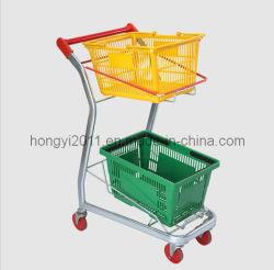 製造業者のプラスチックバスケットの便利の買物かごのカートが付いている熱い販売のスーパーマーケットの圧延2層のショッピングトロリーカート