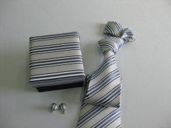 Faixa cinza masculina de Design de gravatas de seda tecida com Box