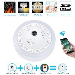 360 панорамными видами пожара дым/опасных газов сигнал обнаружения систем видеонаблюдения и домашние системы безопасности видеонаблюдение Wireless WiFi HD IP камер
