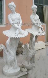Kunst Skulptur Lebensgröße White Marble Stone Ballett Tänzerin Statue Mit geschnitztem Schwan (SY-X1844)