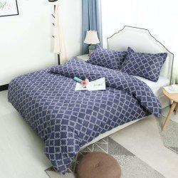 Geometrische gedruckte aufgetragene samtartige Microfiber Bedsheetduvet-Deckel-Bettwäsche eingestellte - bequem, Breathable und Weiche - Knicke, verblassen der beständige Fleck