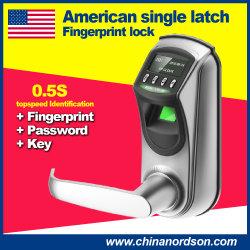 유럽 미국 표준 단일 래치 스마트 키리스 지문 도어 잠금 장치(USB