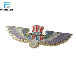 Custom череп позолоченные металлические 3D-экспериментальных крылья значок