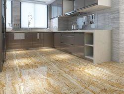600X600黄色い大理石の一見の居間の耐久力のある磨かれた艶をかけられた磁器の床タイル