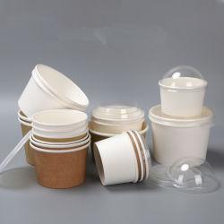 Packpapier-Suppe-Filterglocke-Wegwerfeiscreme-Papiercup-runder Nachtisch-Brei-Mitnehmerverpackenkasten mit Deckel