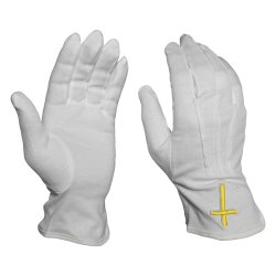 Seitliches weißes Baumwollgelb-Kreuz-Emblem-nach Maß Firmenzeichen-Handschuh-Freimaurer öffnen