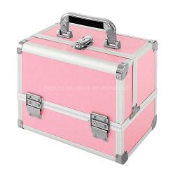 Cas cosmétiques Maquillage professionnel Organisateur case Stockage durable PU & profilé en aluminium avec 3 plateaux, miroir, porte-balais et rose de clé de verrouillage