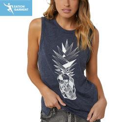Parte superiore di serbatoio Sleeveless stampata di svago di estate grafica della maglietta giro collo per le ragazze