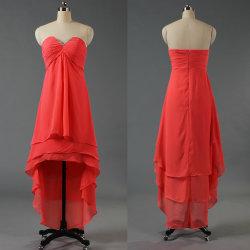 La moda poco V de alta, baja de cuello corto vestidos de cocktail frente largo vestido Bridemaid E340