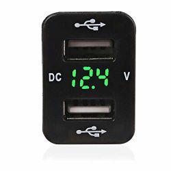 2.1A Chargeur USB double prise d'alimentation avec le voltmètre numérique voyant bleu pour smartphone iPhone iPad PDA GPS portable pour Toyota