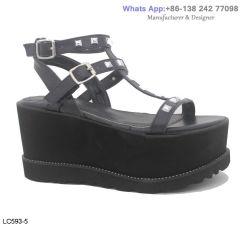 Womens haute dame Flatform patte transversale chaussures sandales de plate-forme de filtre en coin