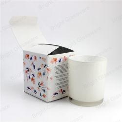 Haute qualité 12oz Bougie en verre blanc avec du carton Le pliage du papier Jar boîte cadeau