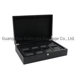 Nuevo y lujoso reloj de madera negra caja de embalaje para el 10 de relojes