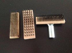 Деревянная ручка стальная проволока щетка для барбекю с сошника