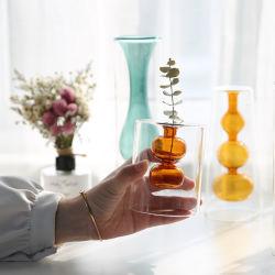 Creative Tabletop décorations colorées Flowerer hydroponique Double-Layer Vase en verre pour la maison de mariage