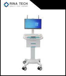 Medizinischer Karren-Computer einteiliger PC Bezirk-runde LaufkatzeBuilt-inbatterie
