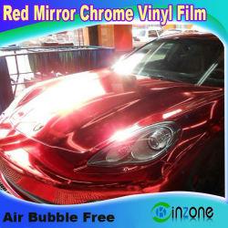 Chrome красная наклейка с логотипом автомобиля наматывается виниловая пленка с воздушные каналы