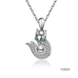 Hotsale Qualitäts-weiße Shell-Perle mit silberner Fox-Anhänger