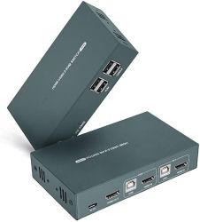 KVM-switch HDMI 2-poort, Ultra HD 4K@30Hz, ondersteuning voor USB 2.0-hub, draadloze toetsenbordmuis en Hotkey-switch, met 2 HDMI- en 2 USB-kabels