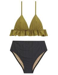 Hoge Taille Swimwear van Korea van de Bikini van de Driehoek van de Boord van de Ruche van de voorraad de Hoogste Geweven
