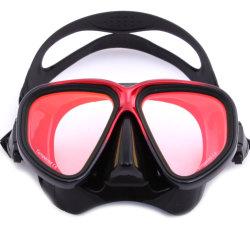 El revestimiento de espejo rojo una visión más amplia lente templado gafas de buceo