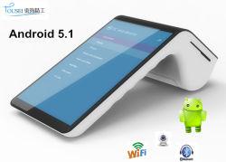 Terminal mobile androïde tenu dans la main de position d'écran tactile avec le scanner Msr PT7003 de code barres de l'imprimante NFC