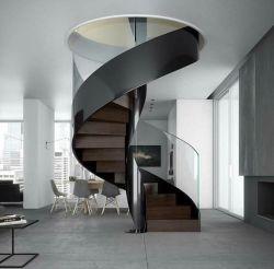 El IDL 2020 en el interior de la escalera de cristal templado modernos diseños de baranda de escalera de caracol escaleras de madera elegante//Madera maciza Escalera de la banda de rodadura/escalera de madera