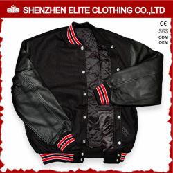 hecho personalizado Sheepskin Bombardero chaqueta acolchada negra Mens (ELTBQJ-529)