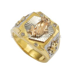 18K 14K 10K Real Gold 925 Silver Religious Men's Ring Jewelry