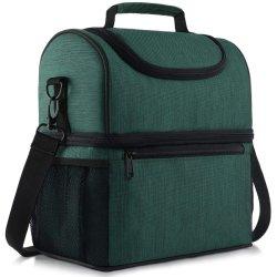 Sacchetto isolato con lo scompartimento doppio, sacchetto del pranzo del dispositivo di raffreddamento della fodera della prova della perdita con verde registrabile della cinghia di spalla