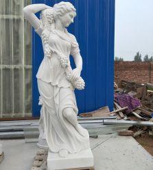 La decoración de jardín bella dama de mármol Tallada escultura estatua