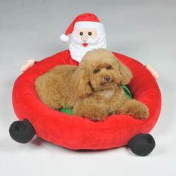 Almofada de cães de Natal Design Flocados Santa Claus Camas Pet Redondo