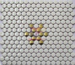 Blanc brillant mélange de fleurs d'or motif mosaïque en céramique ronde Penny (CFT8622)