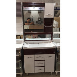 Montage au sol des armoires de salle de bains en PVC avec des portes et tiroirs pour marché indien