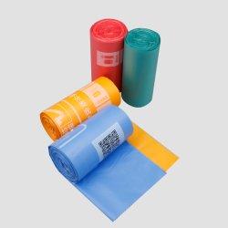 Bioplásticos bolsa de basura de rodillos de impresión personalizada de HDPE, LDPE bolsa de basura certificada por Ok Compost PLA Pbat Bolsa biodegradables de fécula de maíz la bolsa de basura