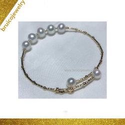Fashion 925 Sterling Silver Rhodium bijoux en or 18K Bracelet avec Shell Perles à facettes pour les femmes