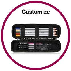 Cassa di matita di cuoio stampata abitudine della tela di canapa del PVC del metallo