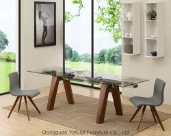 Klassischer moderner Extensions-Raum-hölzerne Speisetisch-Glasmöbel