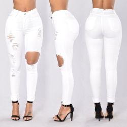 Faible MOQ Fashion trou Skinny blanc cassé jeans déchirés Mesdames