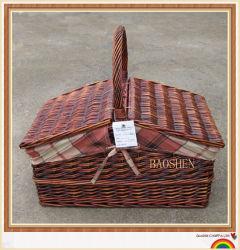柳細工のヤナギの藤のピクニックギフトのフルーツのパンのバスケット