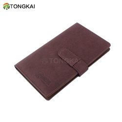 PU cubierta de cuero marrón estuche de PVC Nombre de la empresa titular