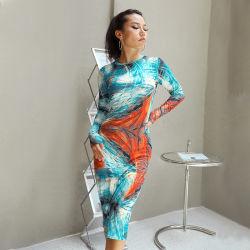 الصين مصنع بيع بالجملة [تي-د] سيادات مثيرة مستديرة عنق طبق كم طويلة ثوب نحيلة