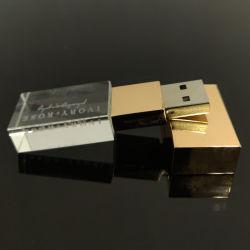Banheira de vender gravada a laser Personalizada Logotipo 3D Crystal Unidade Flash USB drive USB de vidro com caixa de embalagem